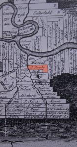 Kaart van Alexander Lavaux uit 1737 met als plantage aanduiding G. Jacobs.