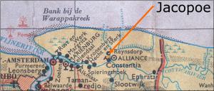Plantage Jacopoe tussen Constancia en Reynsdorp, tegenover Alliance. Atlas van Suriname