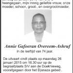 Annie Overeem- Ashruf - DWTonline.com 1941-2015
