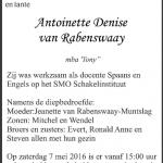 Antoinette van Rabenswaay - 1967-2016