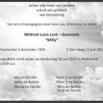 Mildred Lont- Gummels 1945-2015