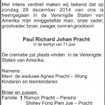 Paul Richard Johan Pracht - 1943-2014