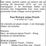 Paul Richard Johan Pracht - 1943-2014